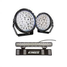 "Adventure Kings 9"" Lethal LED Driving Lights (Pair) + 15"" Numberplate LED Light Bar"