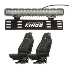 "Kings 15"" Numberplate LED Light Bar + Heavy Duty Seat Covers (Pair)"