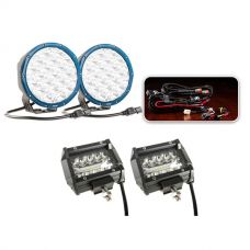 """Essential 7"""" Domin8rX Driving Light Pack fitted with OSRAM LEDs + Adventure Kings 4"""" LED Light Bar"""