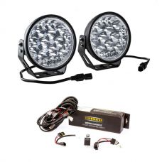 "Adventure Kings Domin8r Xtreme 7"" LED Driving Lights (Pair) + Spotlight Wiring Harness"