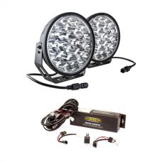 "Adventure Kings Domin8r Xtreme 9"" LED Driving Lights (Pair) + Spotlight Wiring Harness"