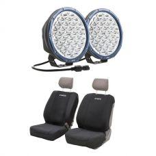 "Kings OSRAM Domin8r X 9"" LED Driving Lights (Pair) + Neoprene Seat Covers"