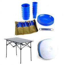 Adventure Kings 37 Piece Picnic Set + Adventure Kings Aluminium Roll Up Camping Table + Adventure Kings Mini Lantern