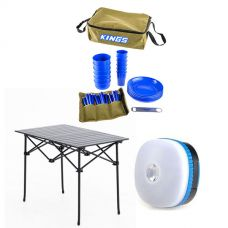 Adventure Kings 37 Piece Picnic Set + Adventure Kings Aluminium Roll Up Camping Table + Adventure Kings Mini Lantern