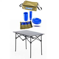 Adventure Kings 37 Piece Picnic Set + Adventure Kings Aluminium Roll Up Camping Table
