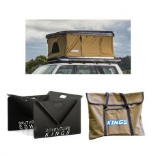 Kings Kwiky MKII Hard Shell Rooftop Tent + Kings Portable Steel Fire Pit + Kings Portable Fire Pit Bag