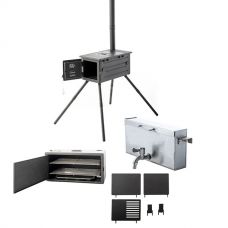 Kings Premium Camp Oven Stove Ultimate Accessories Pack   Inc. Firebox, Smoker, BBQ Hotplates & Water Boiler