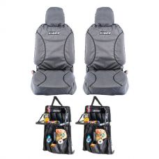 Kings Universal Premium Canvas Seat Covers (Pair) + 2x Premium Car Seat Organiser with Folding Table