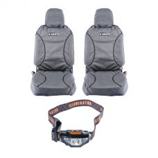 Kings Universal Premium Canvas Seat Covers (Pair) + LED Head Torch