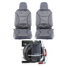 Kings Universal Premium Canvas Seat Covers (Pair) + Premium 48L Dirty Gear Bag