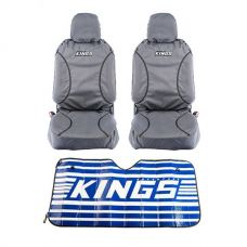 Kings Universal Premium Canvas Seat Covers (Pair) + Sunshade