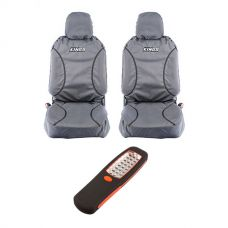 Kings Universal Premium Canvas Seat Covers (Pair) + LED Work Light