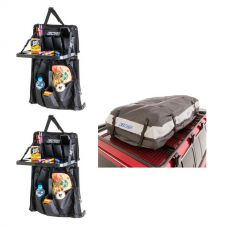 Adventure Kings Premium Waterproof Roof Top Bag + 2x Premium Car Seat Organiser with Folding Table