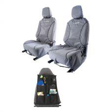 Kings Universal Premium Canvas Seat Covers (Pair) + Car Seat Organiser