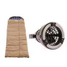 Premium Sleeping bag -5°C to 5°C Degrees Celsius Left Zipper + Adventure Kings 2in1 LED Light & Fan