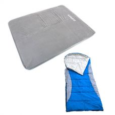 Adventure Kings Self Inflating Foam Mattress - Queen + Kings Hooded Sleeping Bag - Right-Hand Zipper