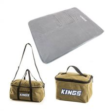 Adventure Kings Self Inflating 100mm Foam Mattress - Queen + Travel Canvas Bag + Toiletry Canvas Bag