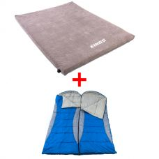 Adventure Kings Self Inflating Foam Mattress - Queen + 2x Hooded Sleeping Bag