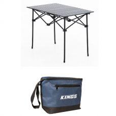 Adventure Kings Aluminium Roll-Up Camping Table + Cooler Bag