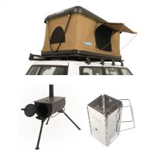 Kings Kwiky MKII Hard Shell Rooftop Tent + Adventure Kings Camp Oven/Stove + Charcoal Starter