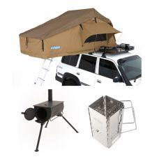 Adventure Kings Roof Top Tent + Adventure Kings Camp Oven/Stove + Charcoal Starter