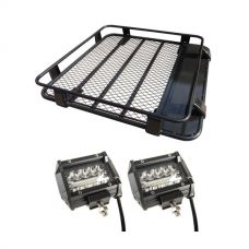 "Steel Roof Rack 1/2 Length + 4"" LED Light Bar (Pair)"