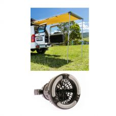 Adventure Kings 2in1 LED Light & Fan + Adventure Kings Rear Awning - 1.4 x 2m