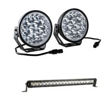 "Adventure Kings Domin8r Xtreme 7"" LED Driving Lights (Pair) + 20"" Slim Line LED Light Bar"