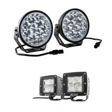 "Adventure Kings Domin8r Xtreme 7"" LED Driving Lights (Pair) + Adventure Kings 3"" LED Work Light - Pair"