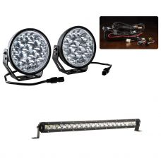 "Adventure Kings Domin8r Xtreme 7"" Essential LED Light Pack + 20"" LETHAL MKIII Slim Line LED Light Bar"