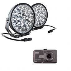 "Adventure Kings Domin8r Xtreme 9"" LED Driving Lights (Pair) + Adventure Kings Dash Camera"