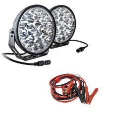 "Adventure Kings Domin8r Xtreme 9"" LED Driving Lights (Pair) + Adventure Kings Heavy-Duty Jumper Leads"