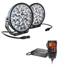 "Adventure Kings Domin8r Xtreme 9"" LED Driving Lights (Pair) + Oricom UHF380PK In-Car 5W CB Radio"