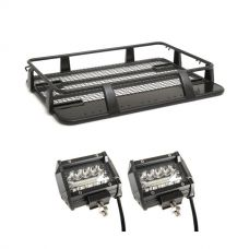 "Steel Single Cab Roof Rack + 4"" LED Light Bar (Pair)"