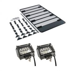 "Steel Flat Rack For Gutter Mount Vehicles + 4"" LED Light Bar (Pair)"