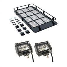 "Full Length Steel Roof Racks + 4"" LED Light Bar (Pair)"