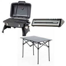 Gasmate Voyager Portable BBQ + Adventure Kings Vacuum Sealer + Aluminium Roll-Up Camping Table
