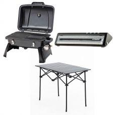 Gasmate Voyager Portable BBQ + Adventure Kings Vacuum Sealer + Aluminium Roll-Up Camping Table