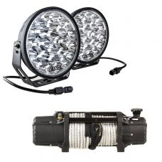 """Domin8r Xtreme 12,000lb Winch + Lethal 9"""" Premium LED Driving Lights"""