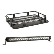 """Steel Single Cab Roof Rack + Kings 20"""" Slim Line LED Light Bar"""