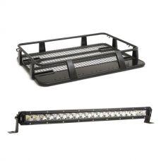 "Steel Single Cab Roof Rack + 20"" LETHAL MKIII Slim Line LED Light Bar"