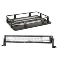 "Steel Single Cab Roof Rack + Domin8r 22"" LED Light Bar"