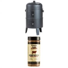 Kings Portable Meat Smoker + Flaming Coals Bovine Espresso Brisket & Steak Rub