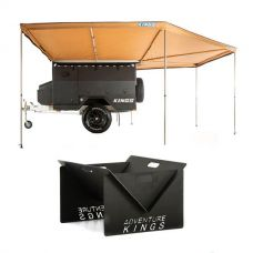 King Wing Deluxe 270° Wrap-Around Awning + Portable Steel Fire Pit