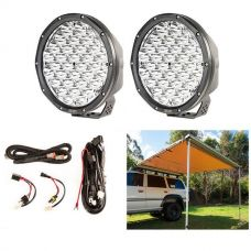 "Adventure Kings 2.5 x 2.5m Kings Side 4WD Awning + 9"" Slim Line LED Driving Lights + Smart Harness"