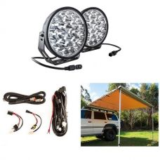 "Adventure Kings 2.5 x 2.5m Kings Side 4WD Awning + 9"" LED Driving Lights (Pair) + Smart Harness"