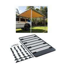 Steel Flat Rack For Gutter Mount Vehicles + Adventure Kings Awning 2.5x2.5m