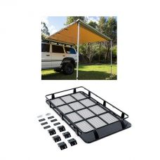 Full Length Steel Roof Racks + Adventure Kings Awning 2.5x2.5m