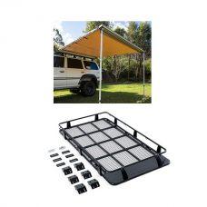 Full Length Steel Roof Racks + Adventure Kings Awning 2.5x2.5m