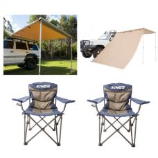 Adventure Kings Awning 2.5x2.5m + Adventure Kings Awning Side Wall + 2x Throne Camping Chair